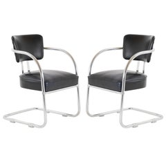 Art Deco Accent Chairs in Black by Kem Weber for Lloyd, Pair