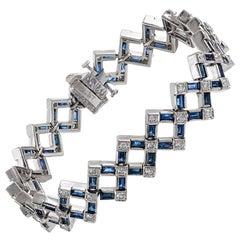 "Art Deco ""Accordion Link"" Sapphire and Diamond Bracelet"