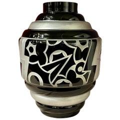 Art Deco Acid Etched Modernist Glass Vase by Scalimont Production