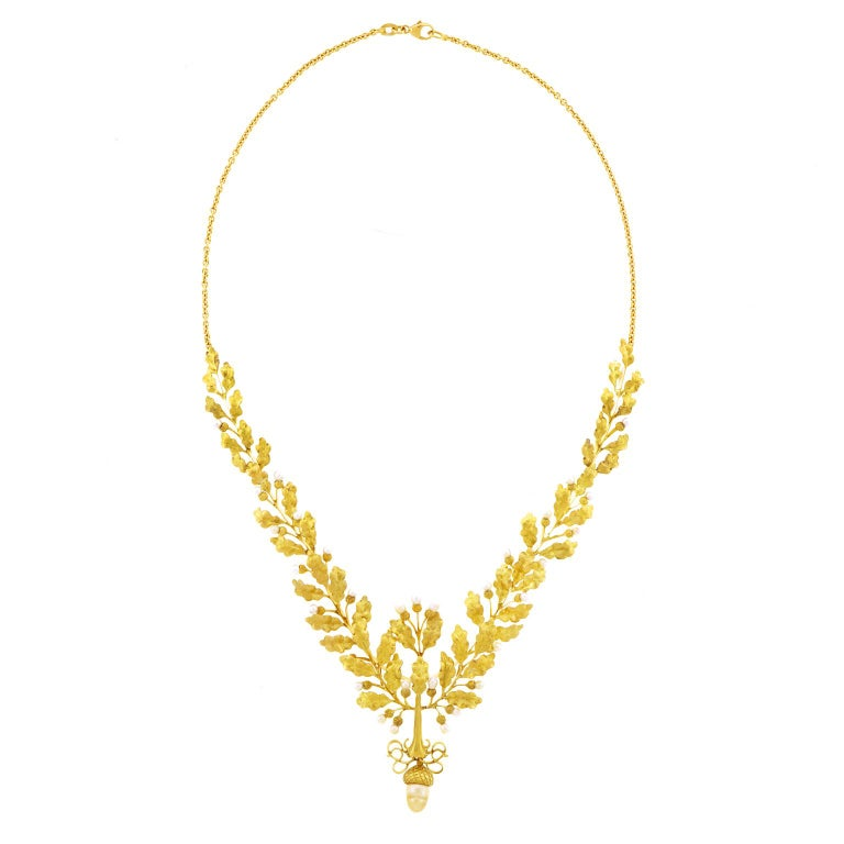 Art Deco Acorn And Oak Leaf Gold Necklace At 1stdibs