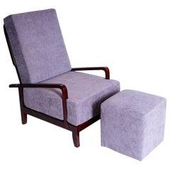 Art Deco Adjustable Armchair with Footstool, 1930s