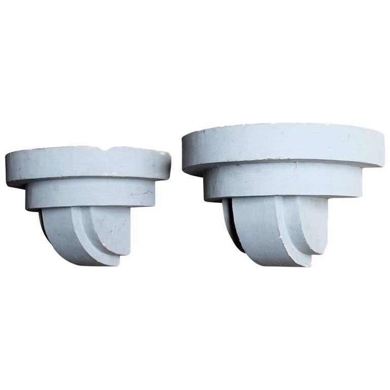 Art Deco Adnet Style Geometric Plaster Wall Sconces For Sale