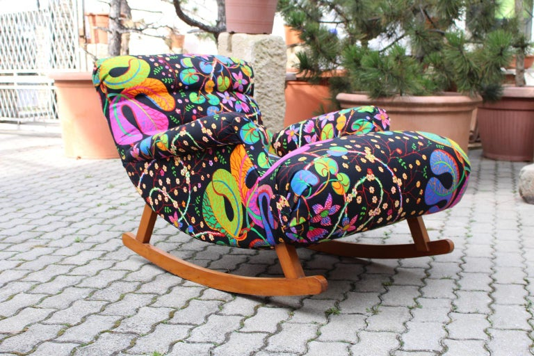 Josef Frank Adolf Loos Multicolored Wood Art Deco Era Vintage Rocking Chair 1920 For Sale 6