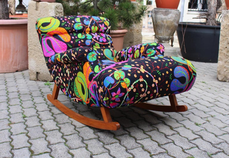 Josef Frank Adolf Loos Multicolored Wood Art Deco Era Vintage Rocking Chair 1920 For Sale 7