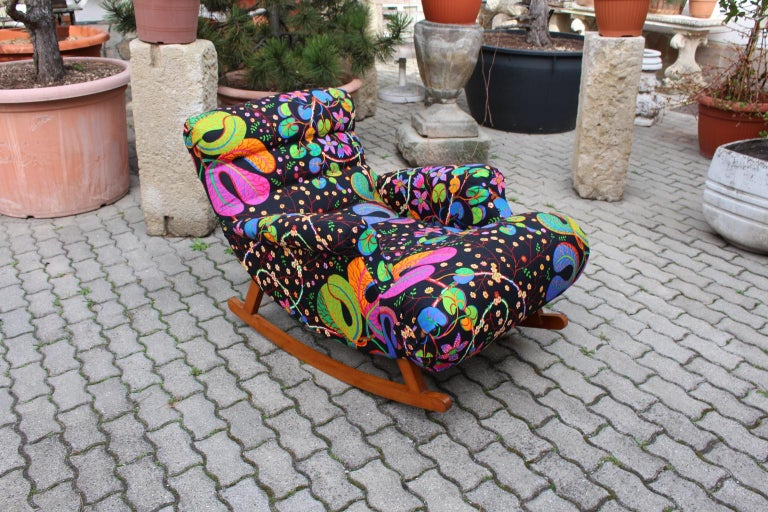 Josef Frank Adolf Loos Multicolored Wood Art Deco Era Vintage Rocking Chair 1920 For Sale 8