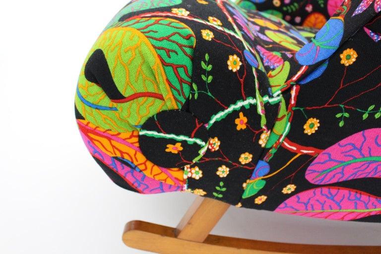 Josef Frank Adolf Loos Multicolored Wood Art Deco Era Vintage Rocking Chair 1920 For Sale 10