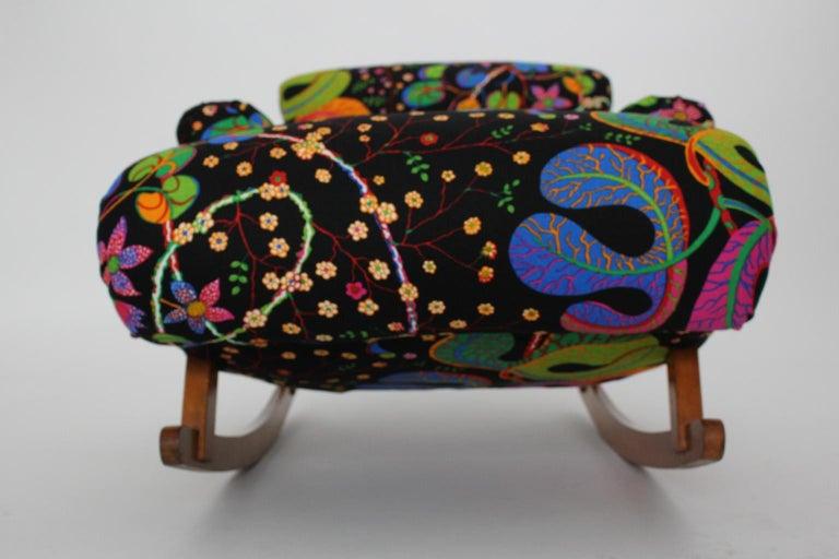 Josef Frank Adolf Loos Multicolored Wood Art Deco Era Vintage Rocking Chair 1920 For Sale 14