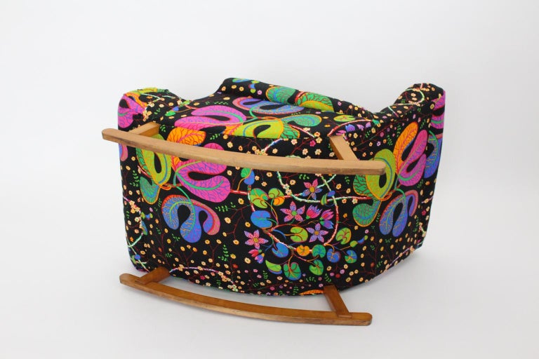 Josef Frank Adolf Loos Multicolored Wood Art Deco Era Vintage Rocking Chair 1920 For Sale 15