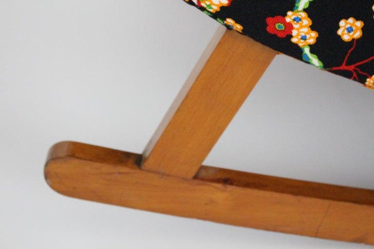 Josef Frank Adolf Loos Multicolored Wood Art Deco Era Vintage Rocking Chair 1920 For Sale 16