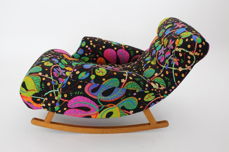 Josef Frank Adolf Loos Multicolored Wood Art Deco Era Vintage Rocking Chair 1920 In Good Condition For Sale In Vienna, AT