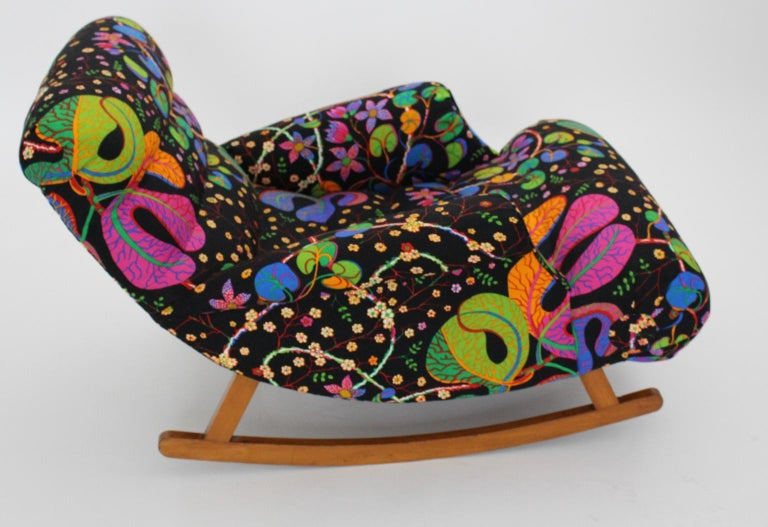 Early 20th Century Josef Frank Adolf Loos Multicolored Wood Art Deco Era Vintage Rocking Chair 1920 For Sale