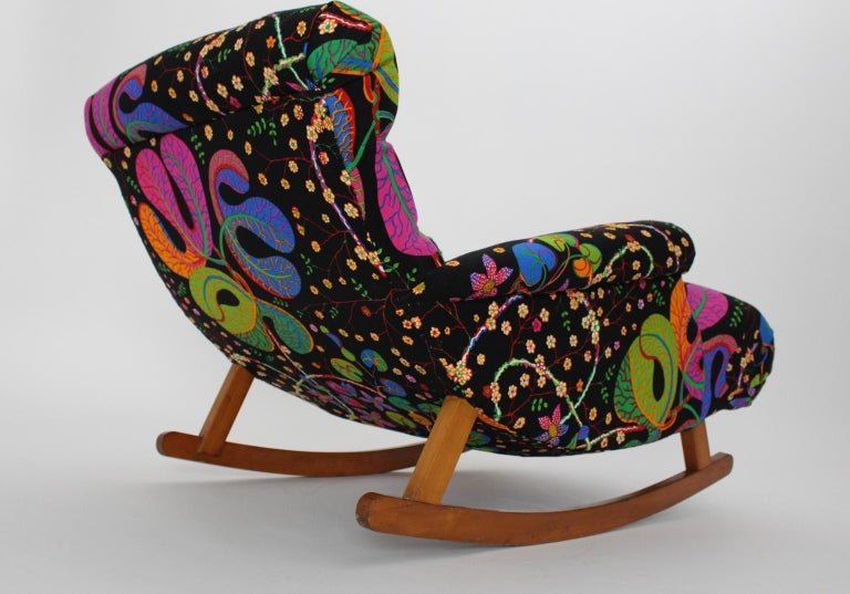 Josef Frank Adolf Loos Multicolored Wood Art Deco Era Vintage Rocking Chair 1920 For Sale 1
