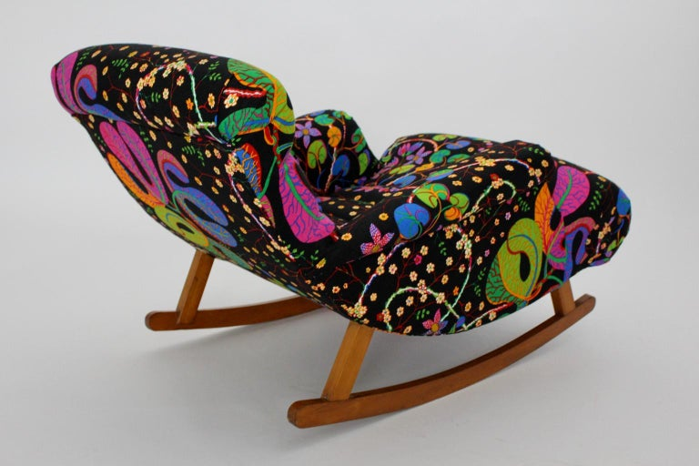 Josef Frank Adolf Loos Multicolored Wood Art Deco Era Vintage Rocking Chair 1920 For Sale 2
