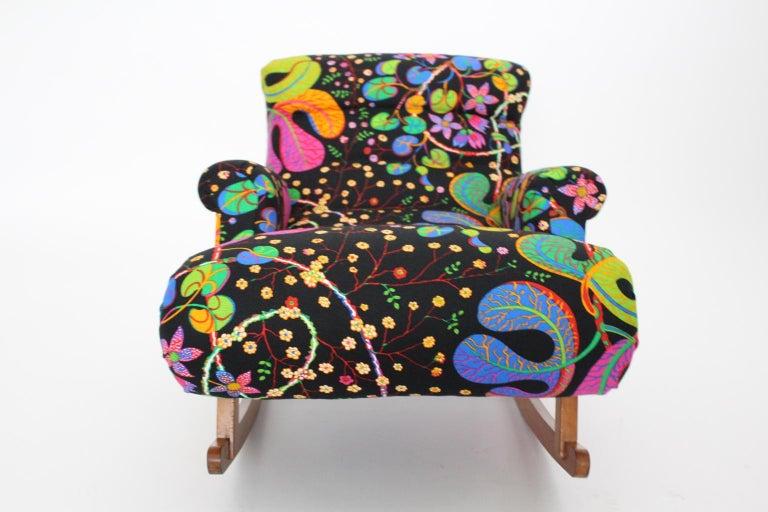 Josef Frank Adolf Loos Multicolored Wood Art Deco Era Vintage Rocking Chair 1920 For Sale 3