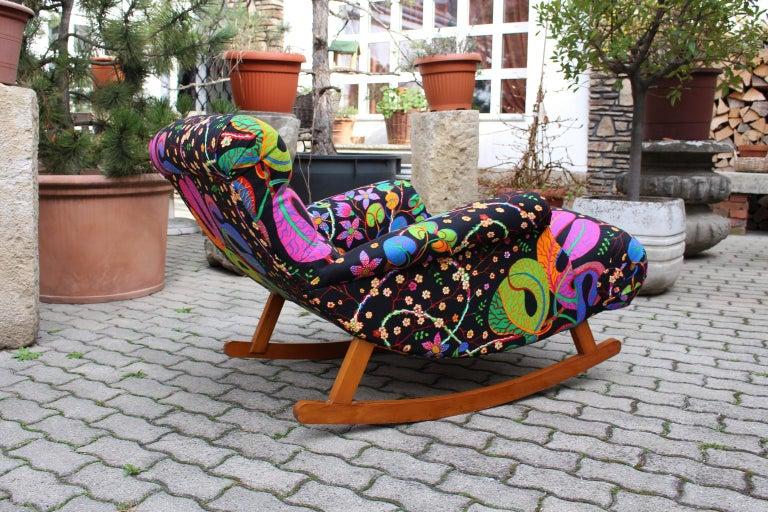 Josef Frank Adolf Loos Multicolored Wood Art Deco Era Vintage Rocking Chair 1920 For Sale 4