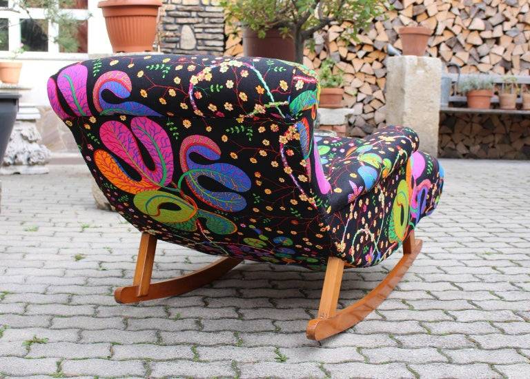 Josef Frank Adolf Loos Multicolored Wood Art Deco Era Vintage Rocking Chair 1920 For Sale 5