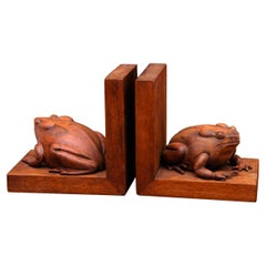 Art Deco Adorable Pair Frog Bookends Hand Carved in Solid Mahogany 1930s Mexico