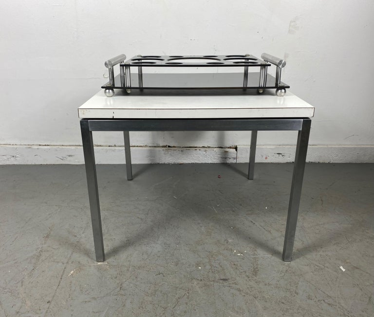 Art Deco Aero Art Frantz Industries Machine Age Aluminum and Micarta Bar Tray In Good Condition For Sale In Buffalo, NY