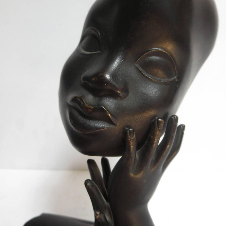 Mid-20th Century Art Deco African Head Sculpture by Karl Hagenauer For Sale