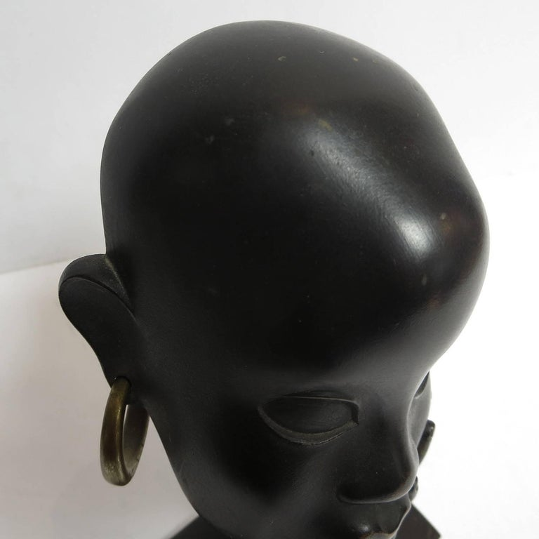 Bronze Art Deco African Head Sculpture by Karl Hagenauer For Sale