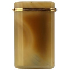 Art Deco Agate and 18-Karat Gold Cigarette Box, France, circa 1920