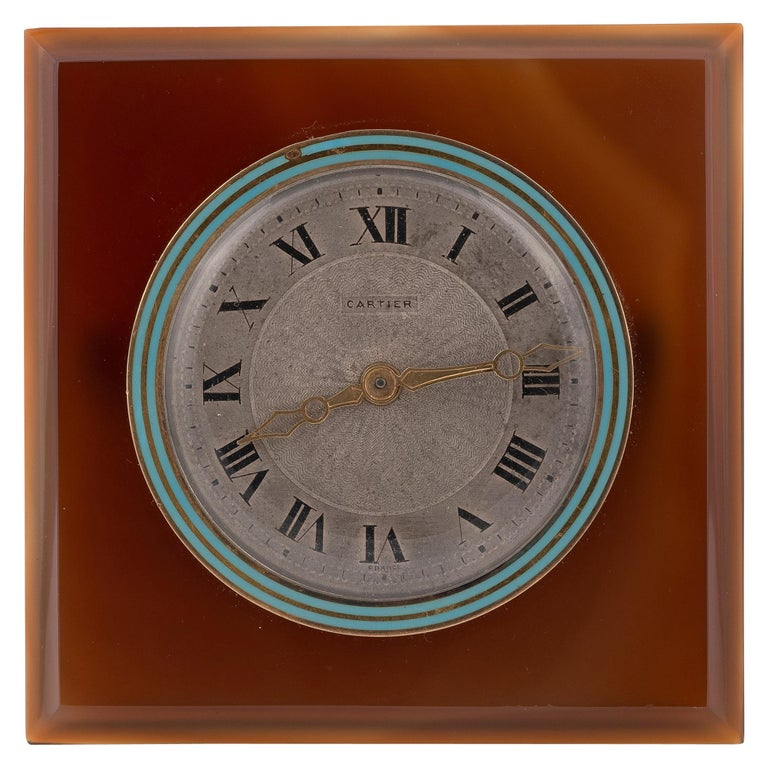 Art Deco Agate and Enamel Desk Clock by Cartier, circa 1920 For Sale