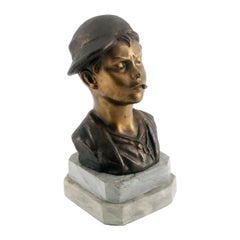 Art Deco Neapolitan 'Scugnizzo' Bust by De Martino, Gilt and Burnished Bronze
