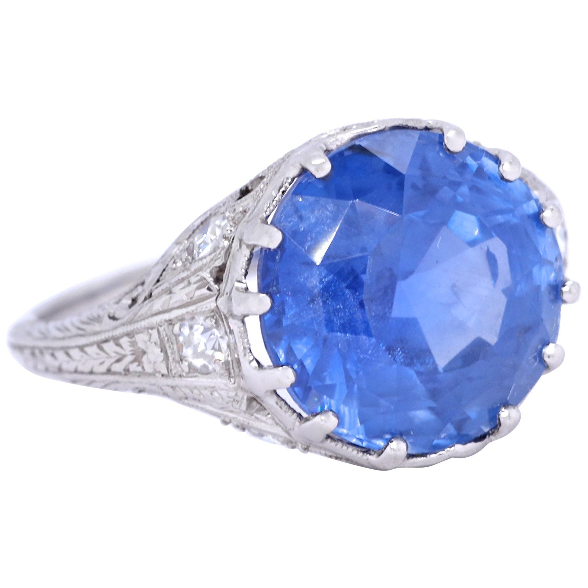 Art Deco AGL 7.50 Carat Burma No Heat Sapphire Diamond Platinum Ring