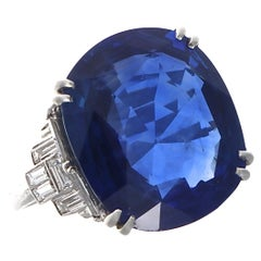 Art Deco AGL Certified 14.33 Carat Royal Blue Sapphire Diamond Platinum Ring
