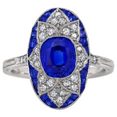 Art Deco AGL Certified 1.84 Carat Kashmir Natural Sapphire Diamond Platinum Ring