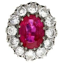 Art Deco AGL Certified Art Deco 5.52 Carat Oval Cut Burma Ruby and Diamond Ring