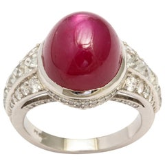 AGL Certified No-Heat Burma Star Ruby and Diamond Platinum Ring
