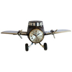 Art Deco Airplane Aeroplane Clock in Bakelite and Chrome by Sessions
