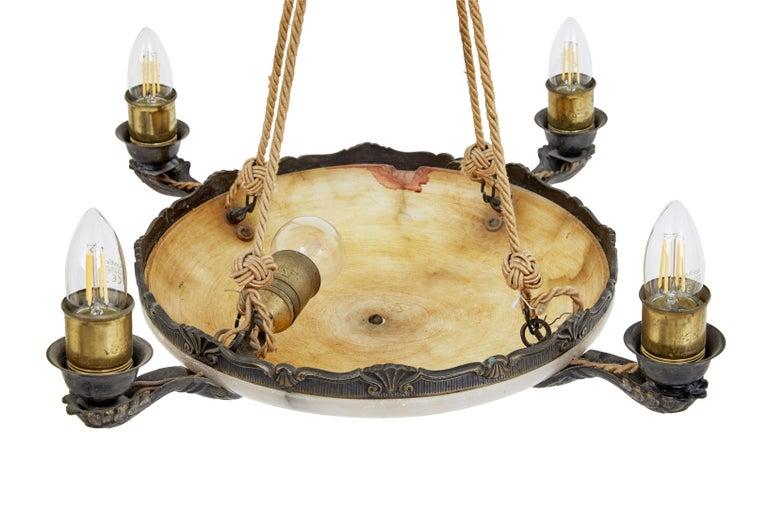 Swedish Art Deco Alabaster 4-Arm Ceiling Pendant Light For Sale