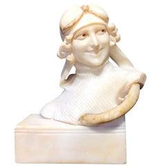 """Art Deco Alabaster Bust of a Female Driver, Signed """"Giusto Vi"""", circa 1920"""