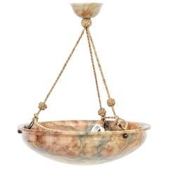 Art Deco Alabaster Dish Ceiling Light