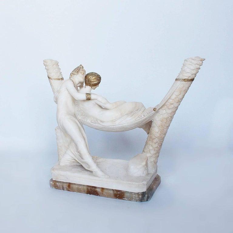 Italian Art Deco Alabaster Sculpture by Fiaschi