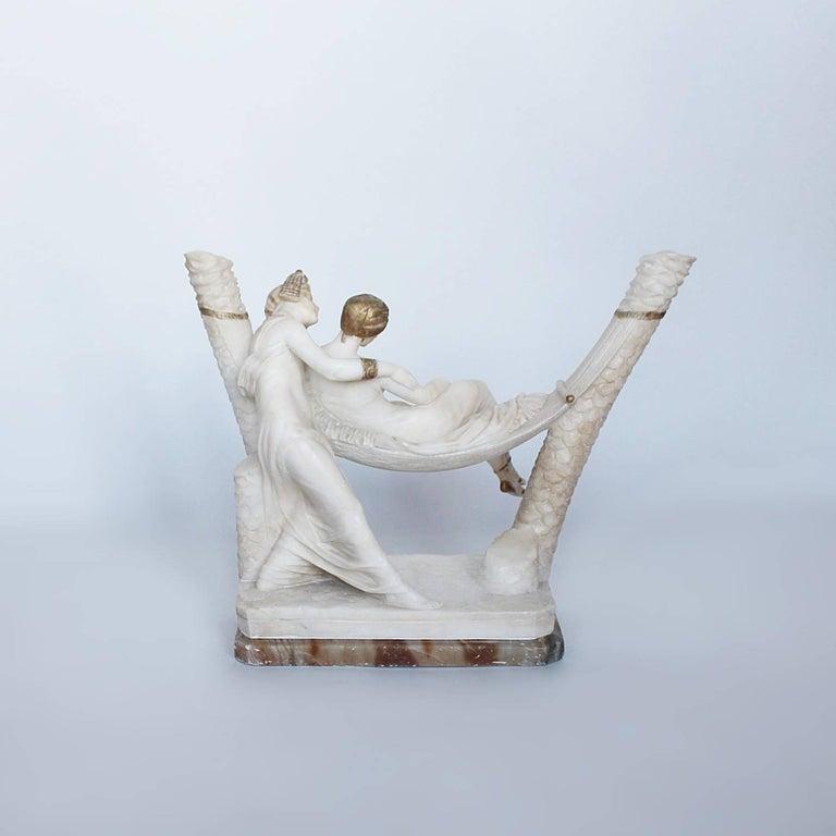 Hand-Carved Art Deco Alabaster Sculpture by Fiaschi