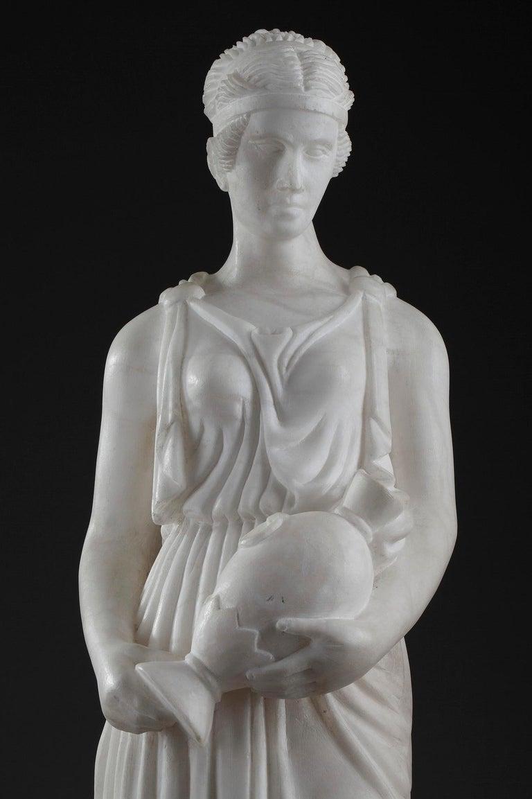Art Deco Alabaster Sculpture The Samaritan Woman For Sale 5