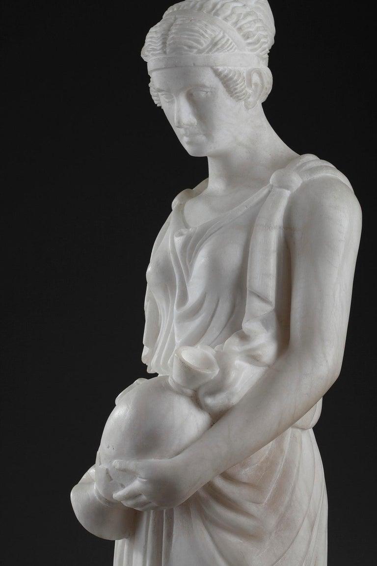 Art Deco Alabaster Sculpture The Samaritan Woman For Sale 6