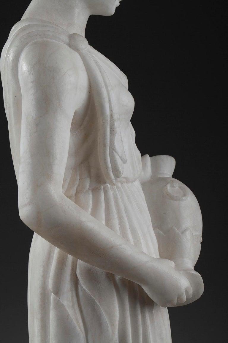 Art Deco Alabaster Sculpture The Samaritan Woman For Sale 9