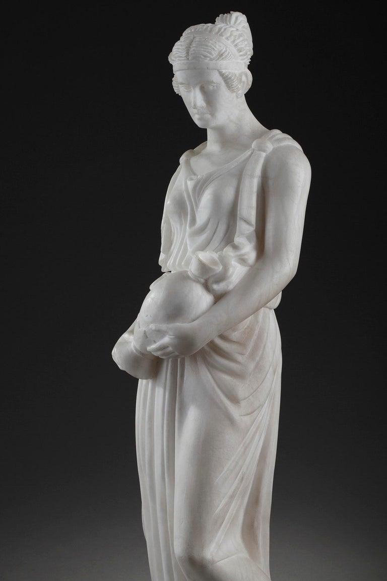 Art Deco Alabaster Sculpture The Samaritan Woman For Sale 14