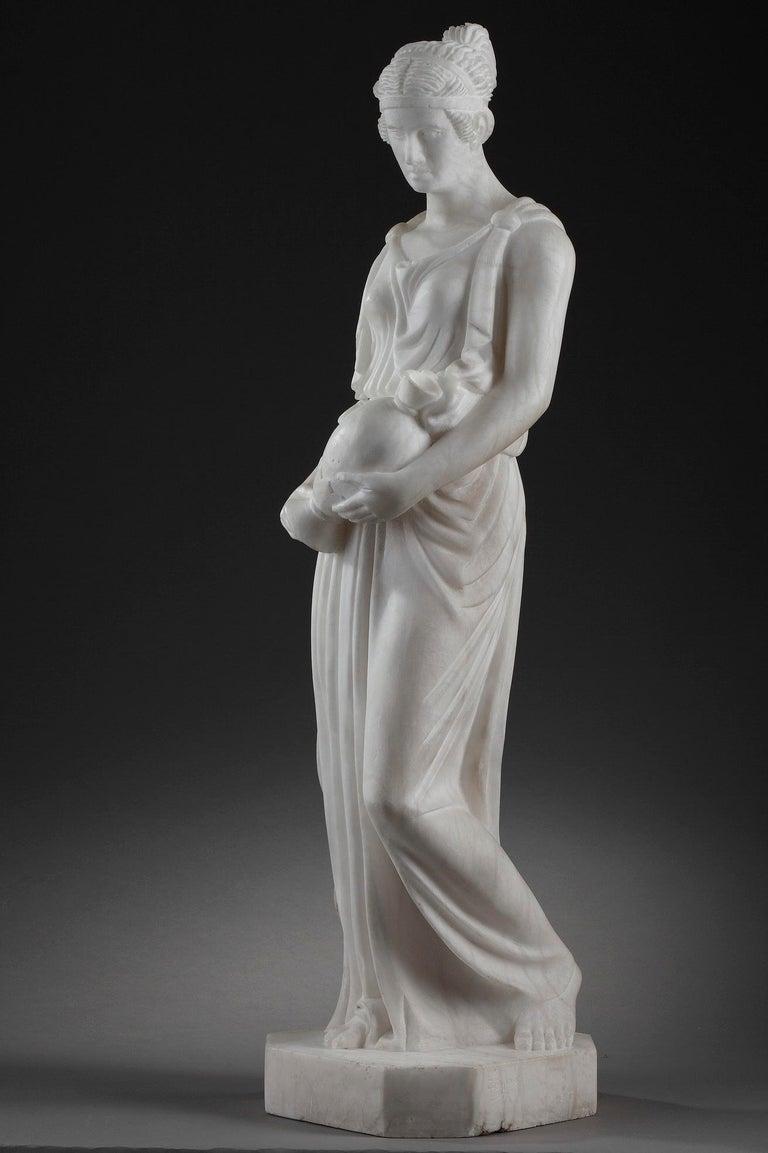 French Art Deco Alabaster Sculpture The Samaritan Woman For Sale