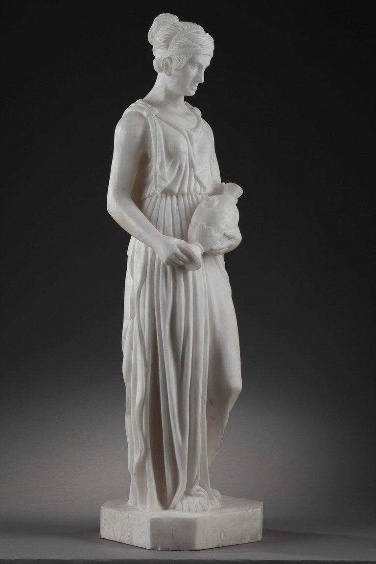 Art Deco Alabaster Sculpture The Samaritan Woman For Sale 4