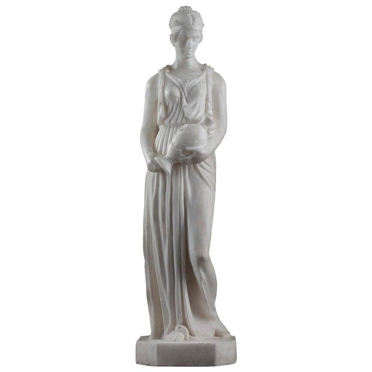 Art Deco Alabaster Sculpture The Samaritan Woman For Sale