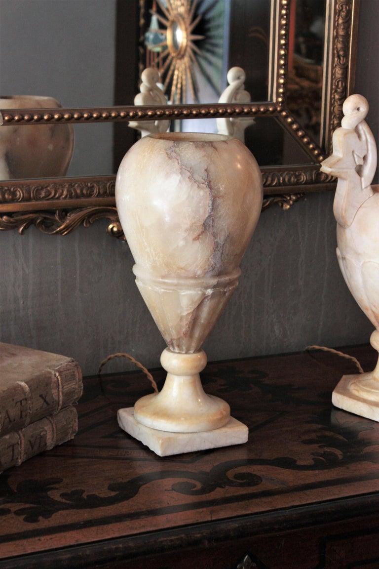 Spanish Art Deco Alabaster Urn Lamp For Sale