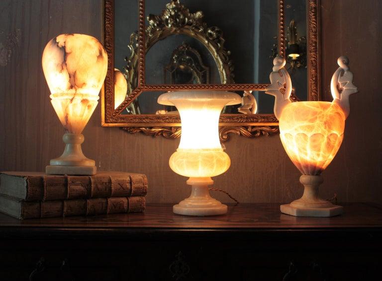 Carved Art Deco Alabaster Urn Lamp For Sale