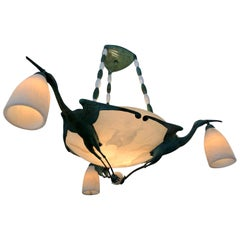 Art Deco Albert Cheuret Style Bronze, Alabaster Bird 3 Stem Pendant Chandelier
