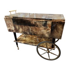 Art Deco Aldo Tura Drop-Leaf Goat Skin Parchment Rolling Bar Cart