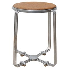 Art Deco Alpax Chrome and Cork Stool or Side Table